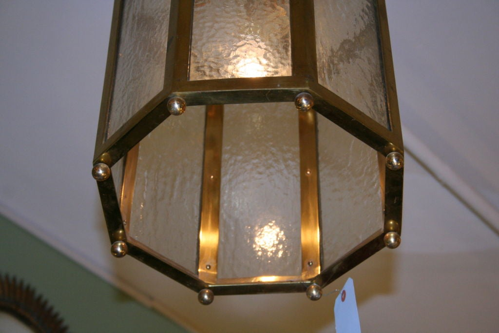 French Brass Lantern With Textured Glass At 1stdibs