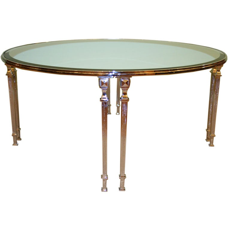 Elegant Nickel Plated Coffee Table At 1stdibs