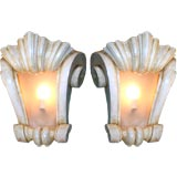 Pair of Plaster Scroll Sconces