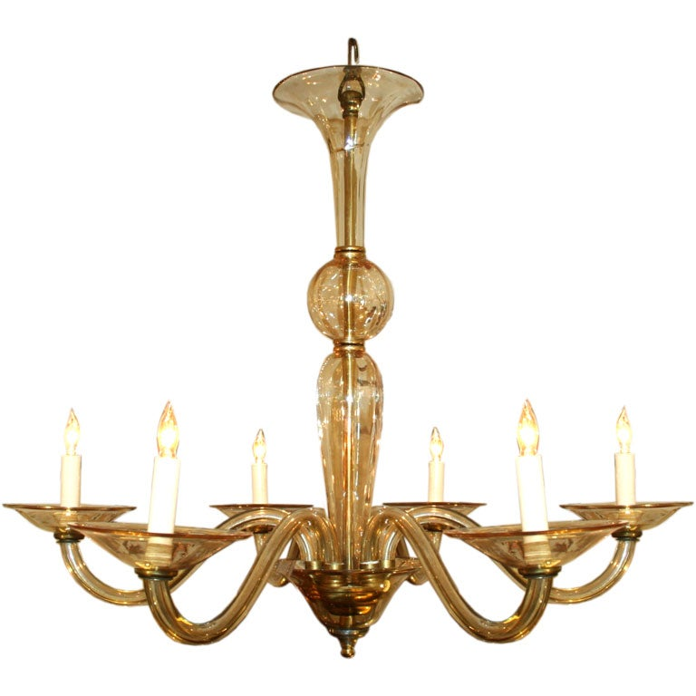 Murano Chandelier Color: Champagne Colored 6-Armed Murano Chandelier At 1stdibs
