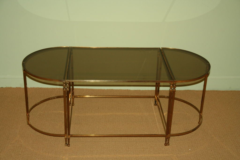3 Piece Smoked Glass Coffee Table At 1stdibs