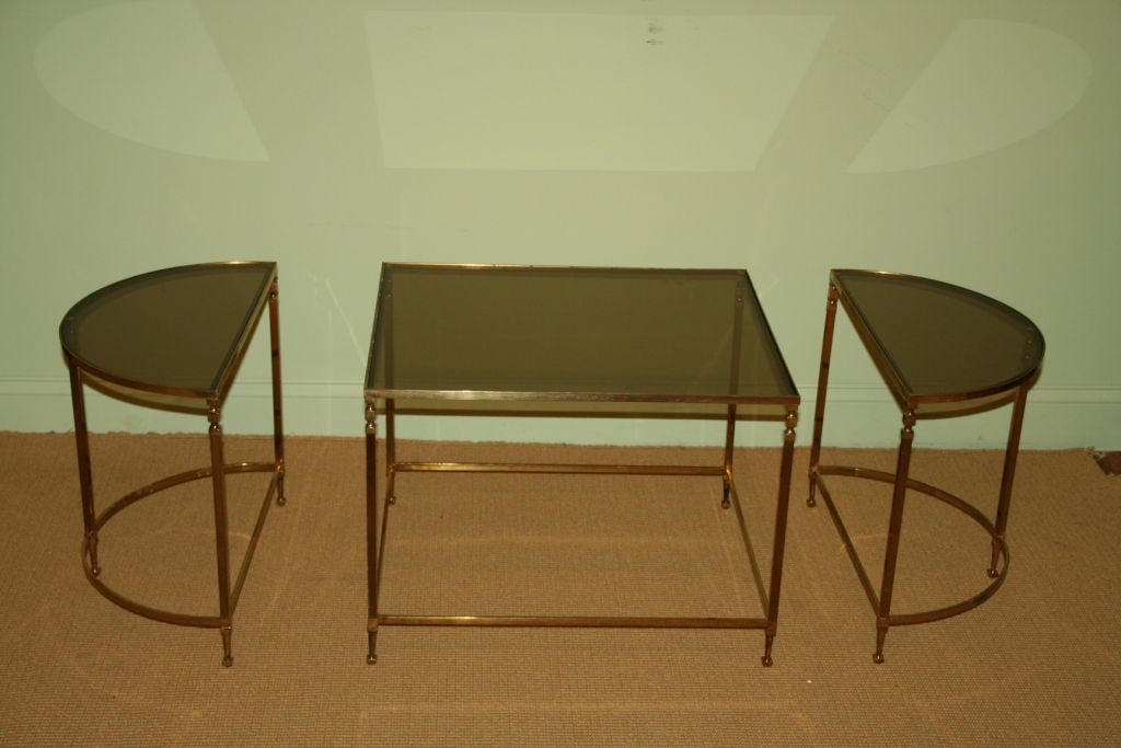 3 piece smoked glass coffee table at 1stdibs for Coffee tables 3 piece