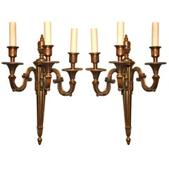 Pair of Three-Arm Gilt Bronze Sconces