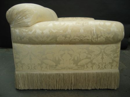 Elegant and plush sofa in white silk damask at 1stdibs for Plush couch and loveseat
