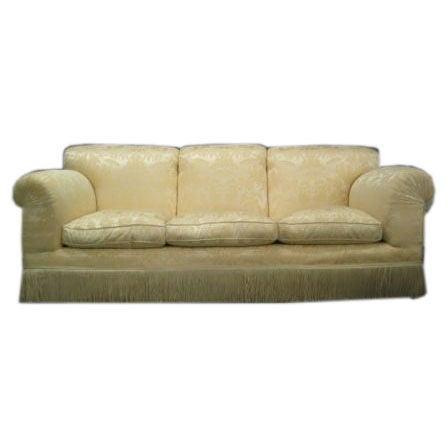 Elegant And Plush Sofa In White Silk Damask At 1stdibs