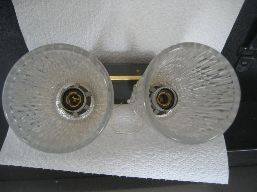 Brass Pair of Mid-Century Modern Sconces For Sale