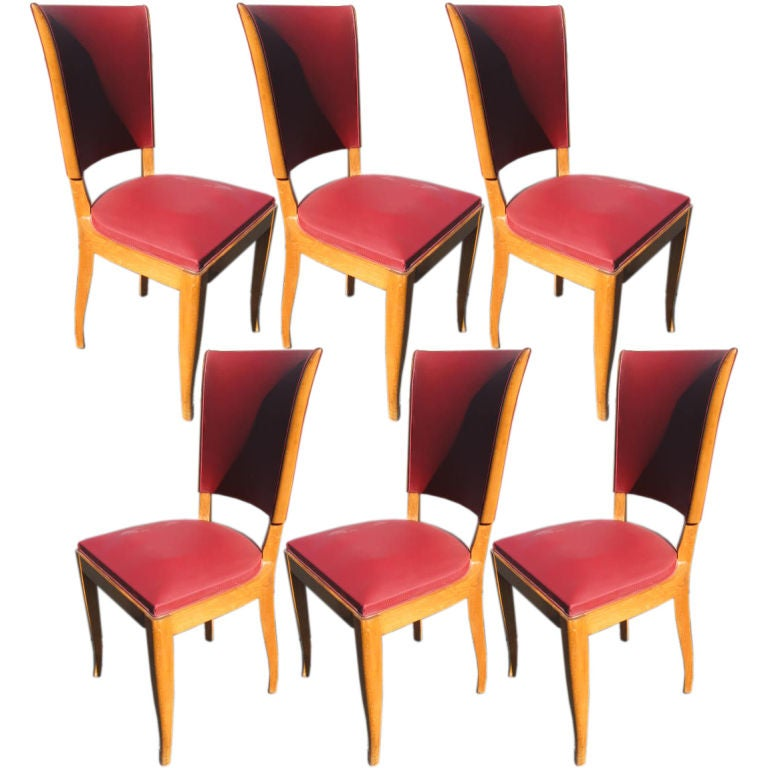Set of 6 1940's French Dining chairs For Sale
