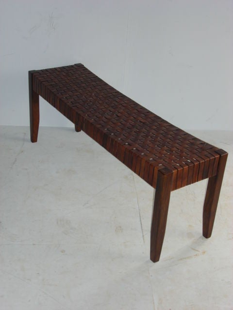 Woven Leather Dressing Bench At 1stdibs