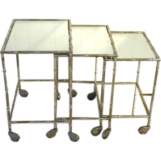 Vintage Gilded Silver Faux Bamboo Nesting Tables