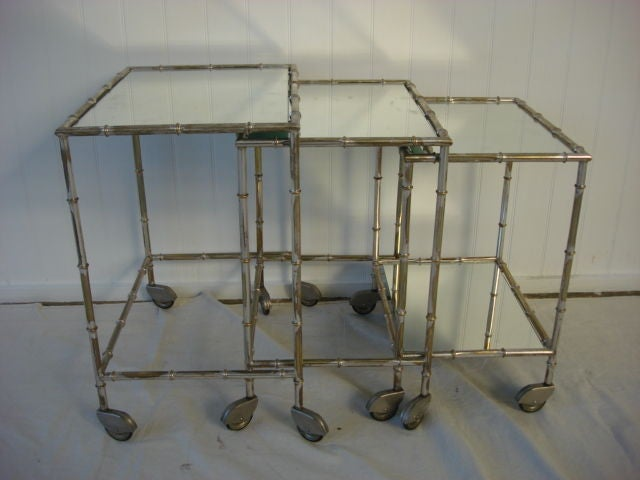 Vintage Gilded Silver Faux Bamboo Nesting Tables image 3