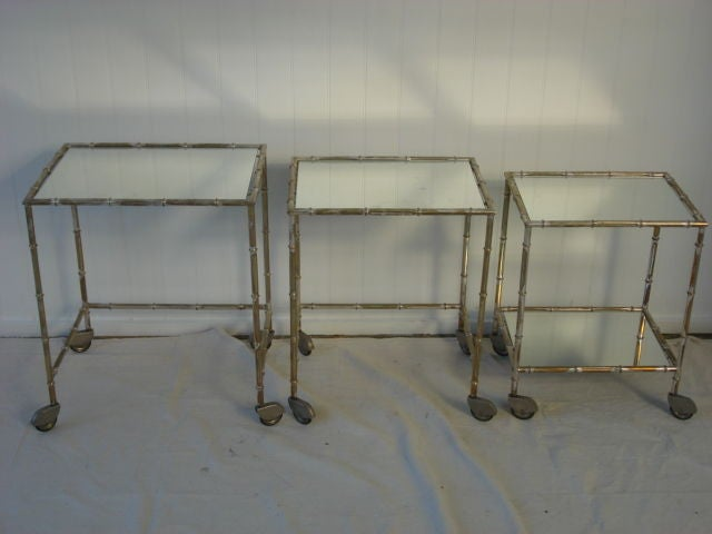 Vintage Gilded Silver Faux Bamboo Nesting Tables image 4