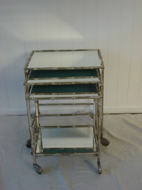 Vintage Gilded Silver Faux Bamboo Nesting Tables image 5