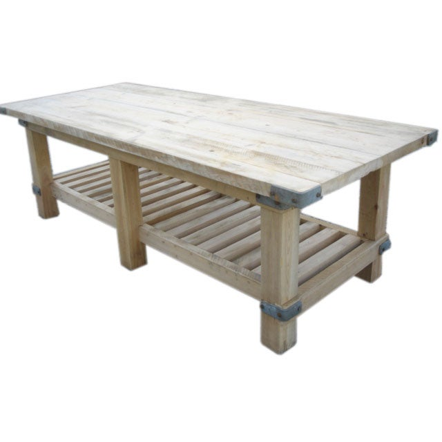 Custom Cypress Wood Kitchen Island Work Table at 1stdibs