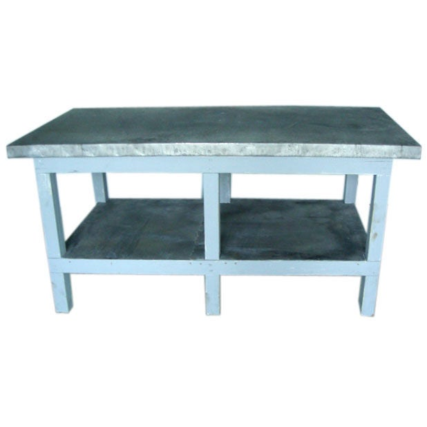 Zinc top kitchen island buffet with cypress base at 1stdibs for Kitchen set zink