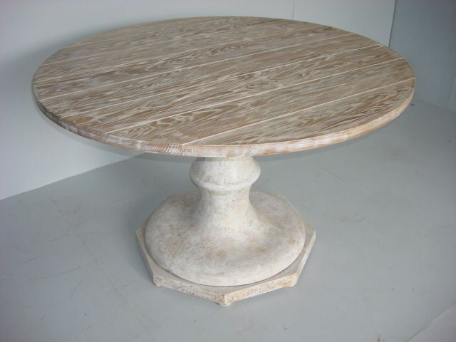 48 round provence style pedestal ash dining table at 1stdibs