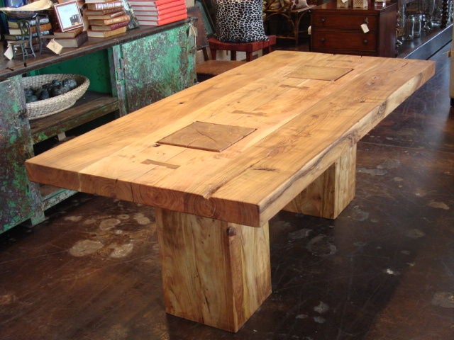 Rustic block acacia wood dining table Rustic wood dining table