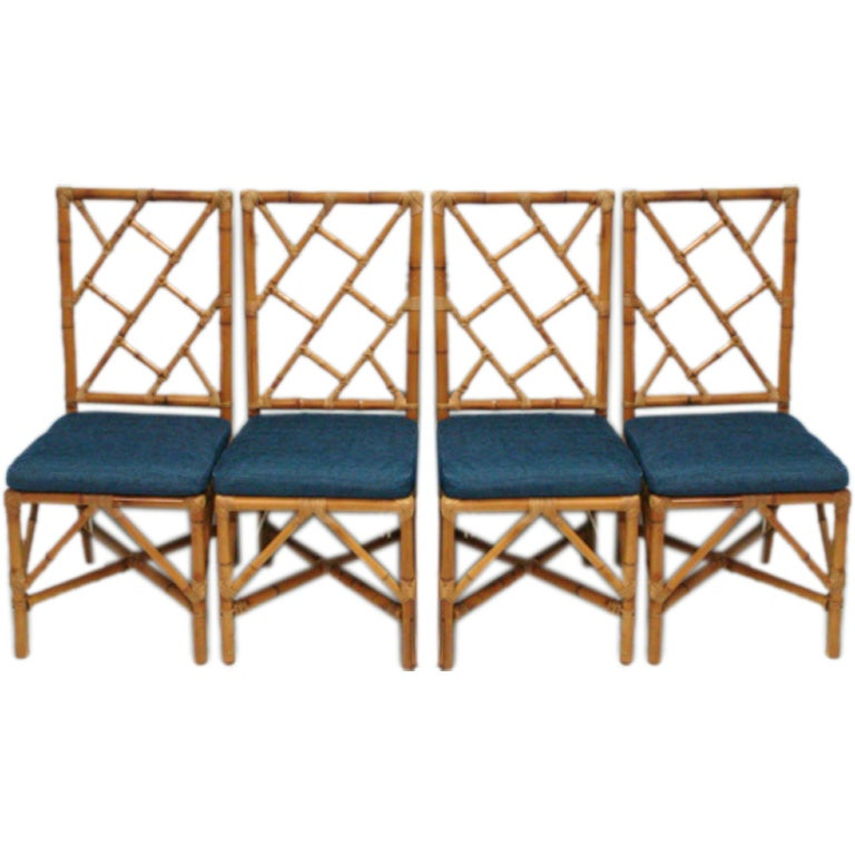 Set of 4 bamboo rattan dining chairs with upholstered seat at 1stdibs - Bamboo dining room furniture ...