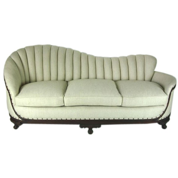 Art Deco Linen Sofa With Carved Wood Base At 1stdibs