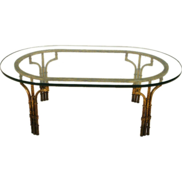 Vintage Faux Bamboo Metal And Glass Coffee Table At 1stdibs