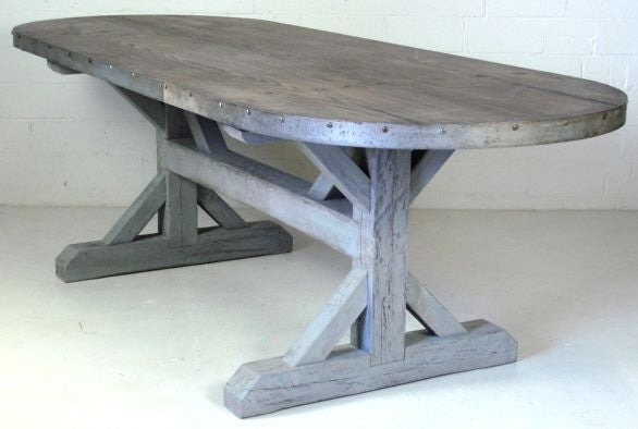 Oval Cypress Plank Dining Table At 1stdibs
