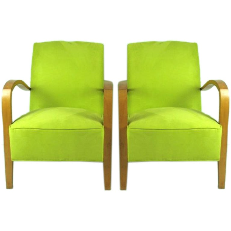 French Moderne Chartreuse Ultra Suede Side Chairs