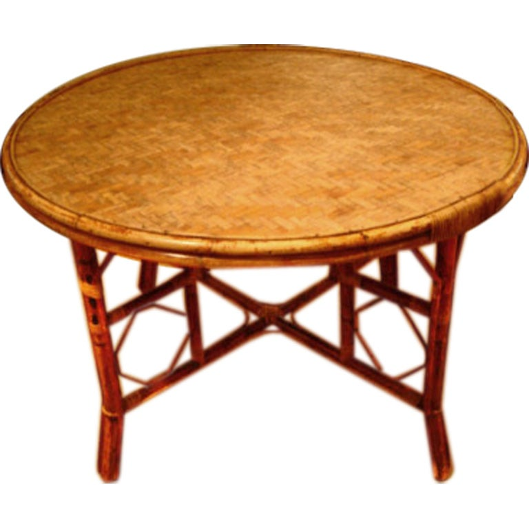 Round 48 Quot Antique Bamboo Dining Table With Stretcher Base