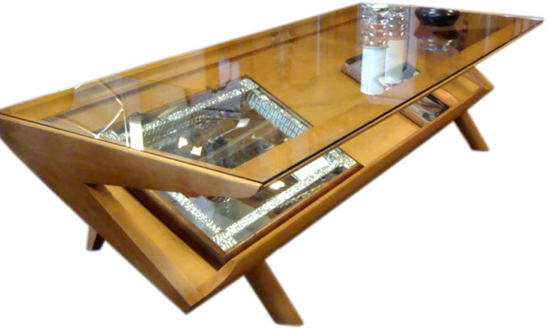 Brown Saltman Mid Century Glass Topped Coffee Table With Rack At 1stdibs