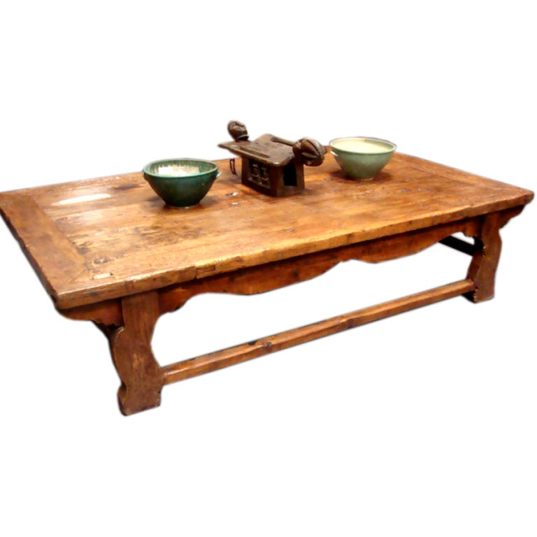 Large Rustic Antique Chinese Poplar Wood Coffee Table At 1stdibs