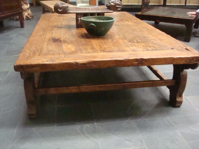 large rustic antique chinese poplar wood coffee table at