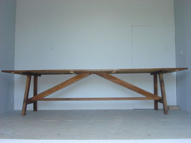 chestnut top picnic style dining table at 1stdibs