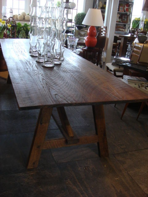chestnut top picnic style dining table at 1stdibs. Black Bedroom Furniture Sets. Home Design Ideas
