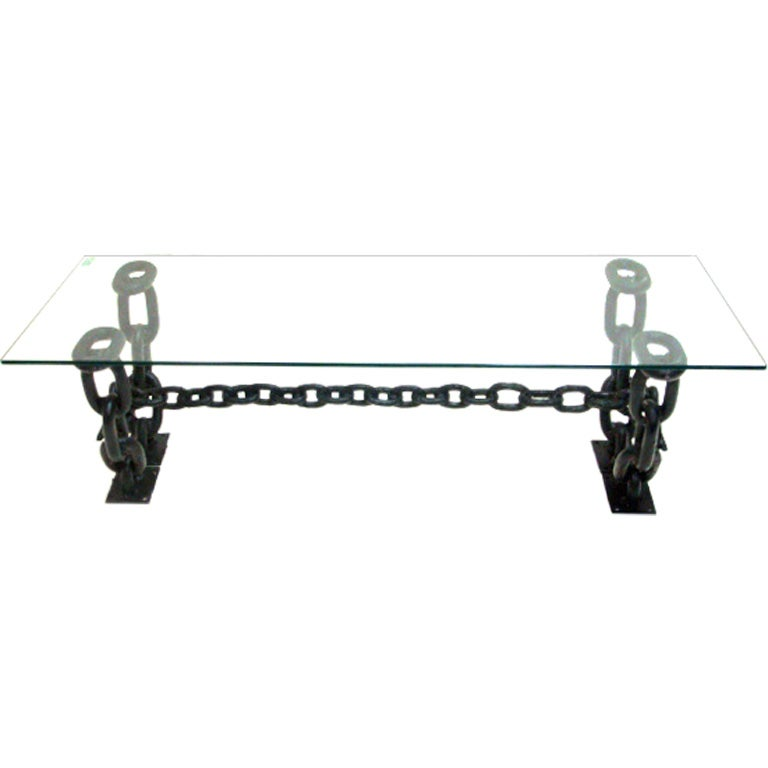 Vintage iron chain link coffee table with glass top at stdibs