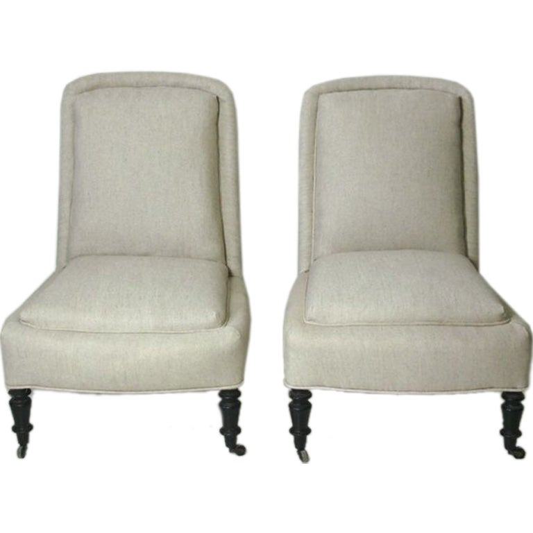 Pair Of French Chaffuesses In Linen At 1stdibs