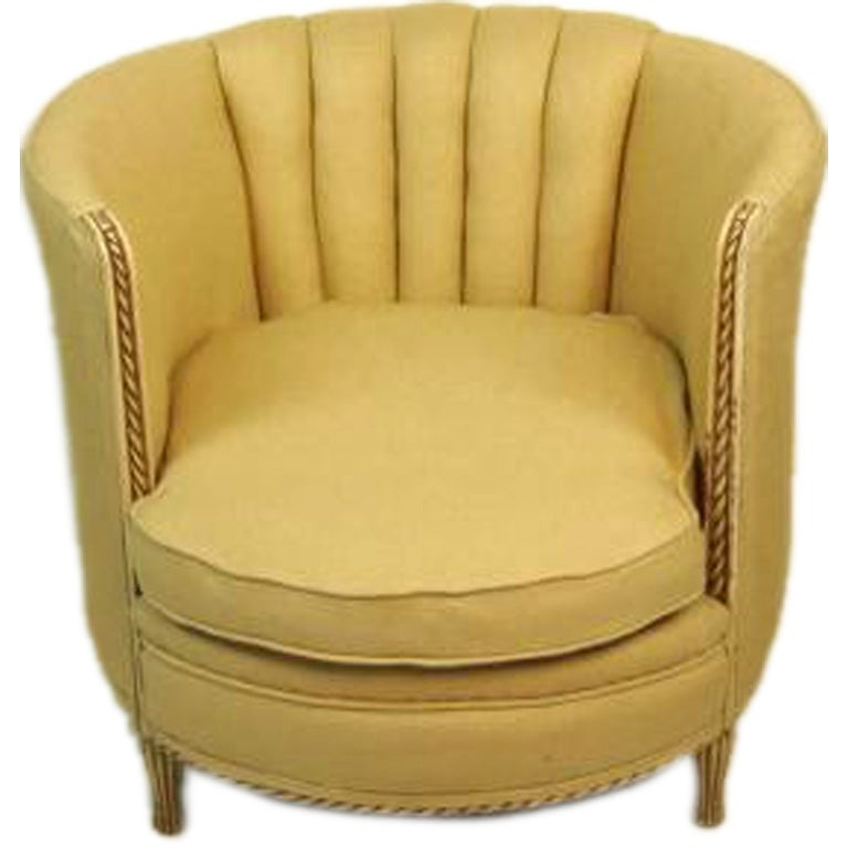 Vintage Channel Back Tub Chair With Carved Wood Frame At