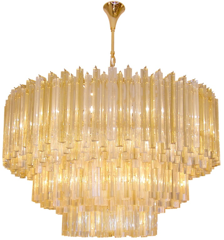 Three Tiered Amber and Clear Crystal Chandelier at 1stdibs