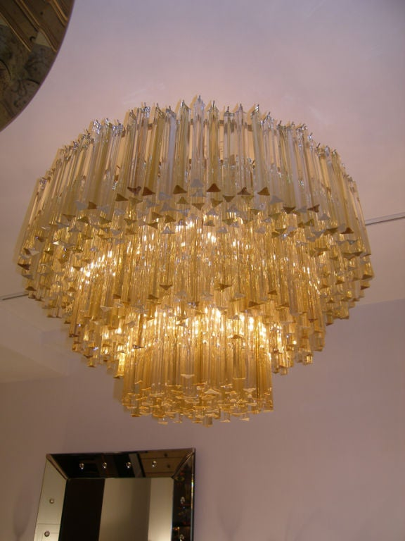 Three Tiered Amber And Clear Crystal Chandelier For Sale