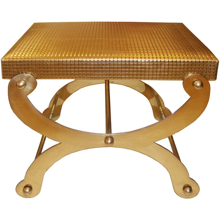 Brass Vanity Stool Upholstered in Gold Metallic Leather