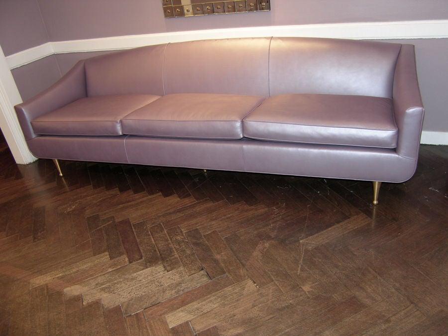 20th Century 1950 S Italian Lavender Metallic Leather Sofa For