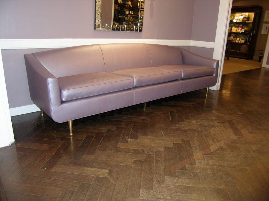 1950 39 S Italian Lavender Metallic Leather Sofa At 1stdibs
