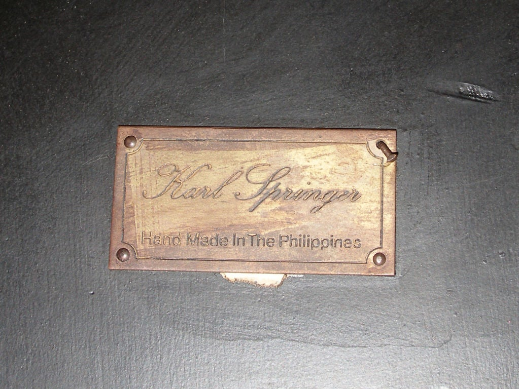 Signed Karl Springer Macassar Ebony & Shagreen Table image 2