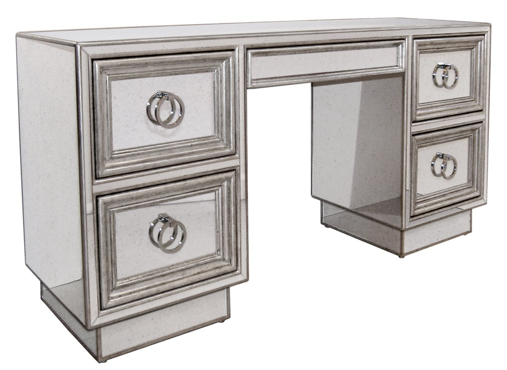 Mirror And Silver Leaf Desk Or Vanity At 1stdibs
