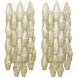Pair of Venini Polyhedral Smoky Gray Glass Sconces