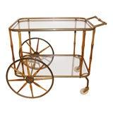 Italian Walnut and Brass Bamboo Bar Cart