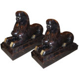Pair of Large Stone and Bronze Sphinxes