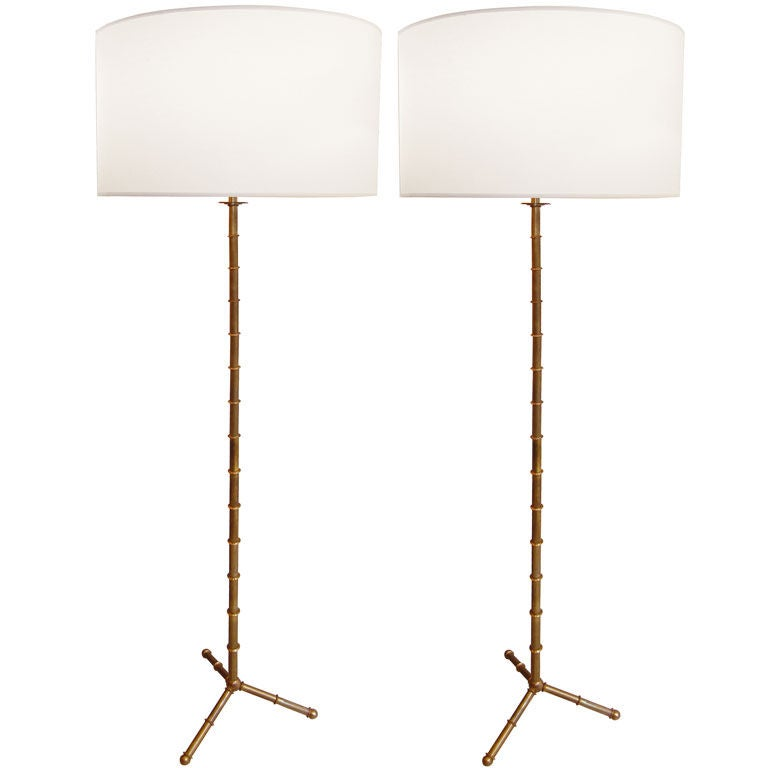 Exceptional Pair Of Jacques Adnet Bronze Bamboo Floor Lamps For Sale