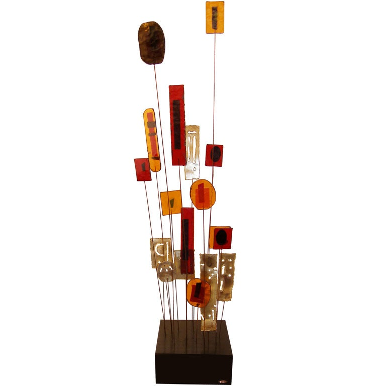 Signed Curtis Jere Glass and Brass Sculpture