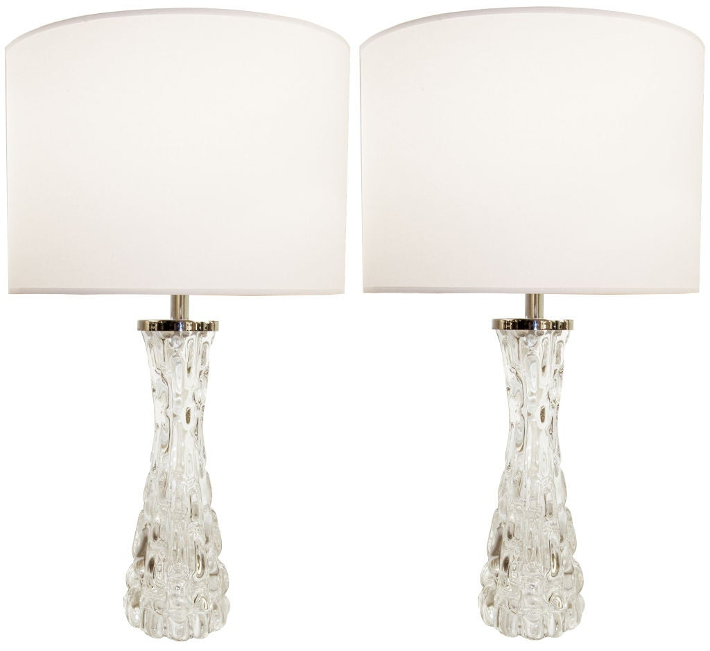 Pair of Orrefors Clear Crystal Lamps For Sale