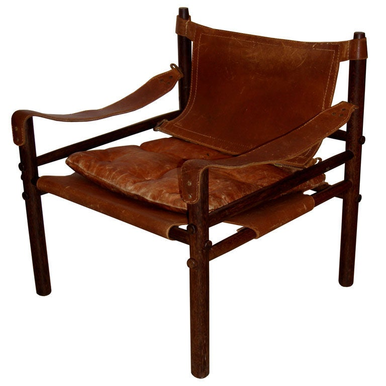 Arne Norell Leather Safari Chair