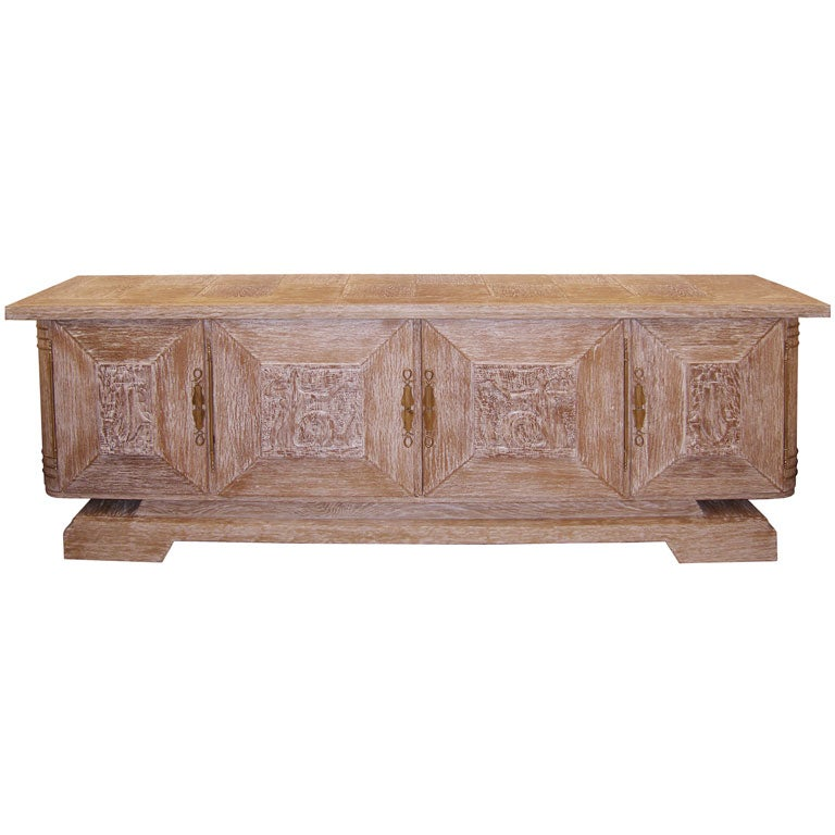 Jean-Charles Moreux Cerused Oak Buffet For Sale