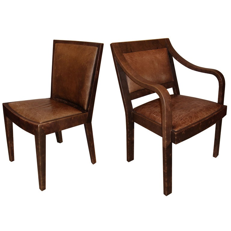 set of 4 signed karl springer leather chairs for sale at